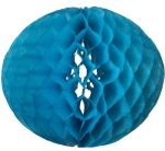 Darázsfészkes gömb, papír 30 cm kék
