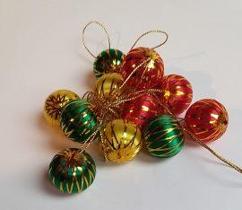 Retro Karácsonyfa dísz 40 mm-es cirmos 12 db