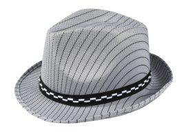 gengszter kalap, csíkos, szürke színben