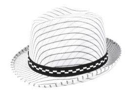 gengszter kalap, csíkos, fehér színben