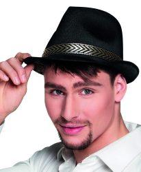 gengszter kalap, fekete, textil