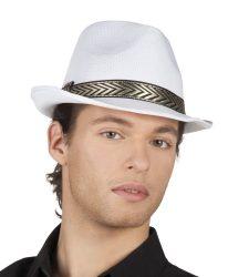 gengszter kalap, fehér, textil