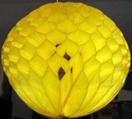 Darázsfészkes gömb, papír 30 cm citromsárga