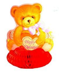 Valentin napi papír talpas mackó szívvel, csillogó