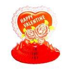 Valentin napi papír talpas szív rózsával, csillogó