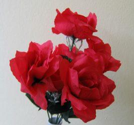 Rózsacsokor 7 virággal piros (mű)