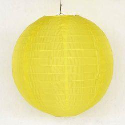 Lampion rizspapírból, 30 cm citromsárga
