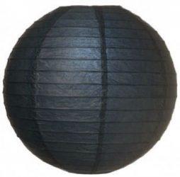 Lampion rizspapírból, 30 cm fekete