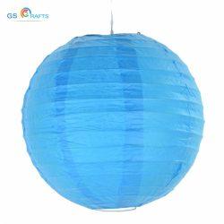 Lampion rizspapírból, 30 cm Közép kék