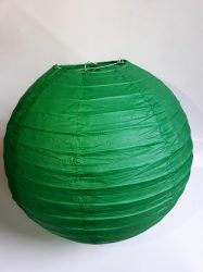 Lampion rizspapírból, 30 cm sötét zöld