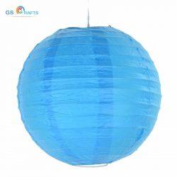 Lampion rizspapírból, 40 cm Közép kék