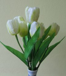 Tulipáncsokor 9 virággal ,fehér