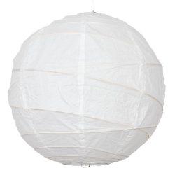 Lampion rizspapírból, 60 cm fehér szabálytalan abronccsal