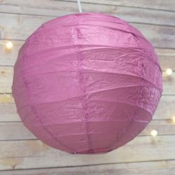 Lampion rizspapírból, 60 cm lila szabálytalan abronccsal