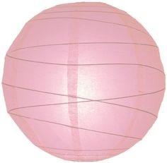 Lampion rizspapírból, 60 cm rózsaszín szabálytalan abronccsal