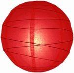 Lampion rizspapírból, 60 cm piros szabálytalan abronccsal