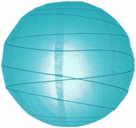 Lampion rizspapírból, 60 cm kék szabálytalan abronccsal