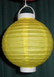 Lampion rizspapírból LED-el, 20 cm citromsárga  elemmel
