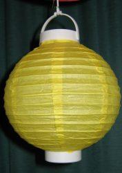Lampion rizspapírból LED-el, 20 cm citromsárga
