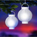Lampion rizspapírból LED-el, 20 cm fehér