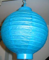 Lampion rizspapírból LED-el, 20 cm kék  elemmel