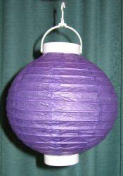 Lampion rizspapírból LED-el, 20 cm lila  elemmel