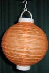 Lampion rizspapírból LED-el, 20 cm narancssárga  elemmel