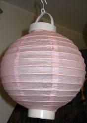 Lampion rizspapírból LED-el, 20 cm rózsaszín  elemmel