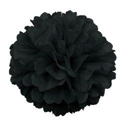 Pom-pom dekoráció, papír 34 cm fekete