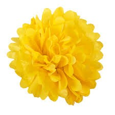 Pom-pom dekoráció, papír 34 cm sárga