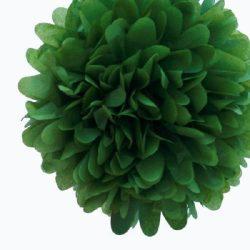 Pom-pom dekoráció, papír 34 cm sötét zöld