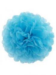 Pom-pom dekoráció, papír 34 cm  kék