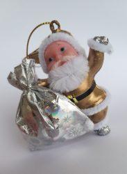 Arany és csillámos mini Télapó karácsonyfa dísz 7 cm