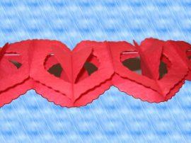 Szív girland, piros, papír