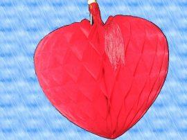 Szív függő, 22 cm papír