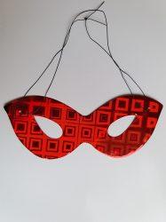 Papír szemüveg álarc holografikus  piros