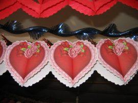 Szív girland, vegyes, papír