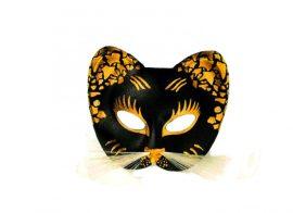cica álarc, nagy arany/fekete