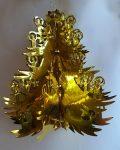 Karácsonyfa alakú, fényes,  felakasztható dekoráció