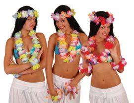 Hawaii szett ( 1db fejdísz, 1db virágnyaklánc, 2db csuklódísz)