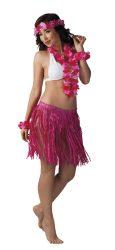 """Hawaii szett """"Kalia""""  Rózsaszín színben ( nyaklánc, fejdísz, kardísz, szoknya 41 cm)"""