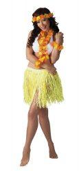 """Hawaii szett """"Kalia""""  Sárga színben ( nyaklánc, fejdísz, kardísz, szoknya 41 cm)"""
