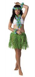 """Hawaii szett """"Kalia""""  Zöld színben ( nyaklánc, fejdísz, kardísz, szoknya 41 cm)"""