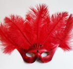 Nagy strucctollas piros szemüveg álarc