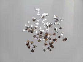 Szilveszteri fólia konfetti ezüst csillag, 10 gramm