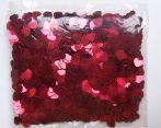 Szilveszteri fólia konfetti piros szív, 100 gramm