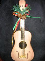 Gitár karácsonyfa dísz,  fából