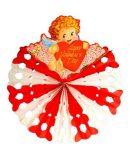 Valentin napi papír kokárda angyalkával 60 cm