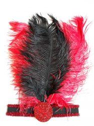 Három strucctollas fejpánt, fekete / piros