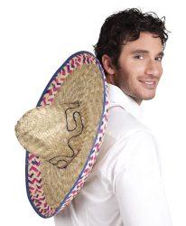 Eredeti mexikói sombrero,  natúr, mintával 52 cm